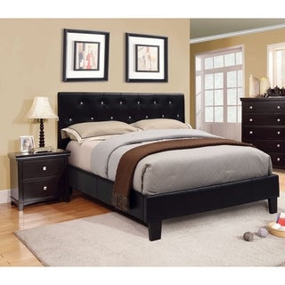 Furniture of America Mircella Black 3-Piece Bed, Nightstand and 12-inch Mattress Set