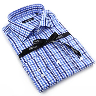 Georges Rech Men's Blue and White Striped Button-down Dress Shirt