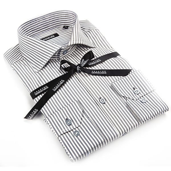Georges Rech Men's Grey and White Striped Button-down Dress Shirt