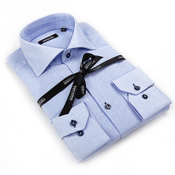 Georges Rech Men's Blue Chambray Button-down Dress Shirt