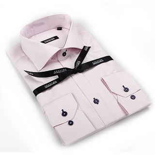 George Rech Men's Light Pink Button-down Fashion Shirt