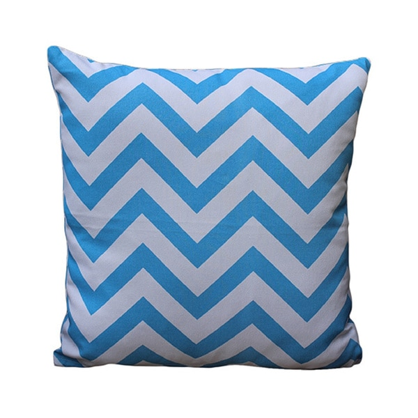 Auburn Textiles Chevron Blue/ White Printed Pillow