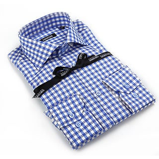 Georges Rech Men's Blue Gingham Plaid Button-down Dress Shirt