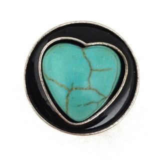 Bleek2sheek Snap-a-doo Turquoise Heart Snap Chunk Charm