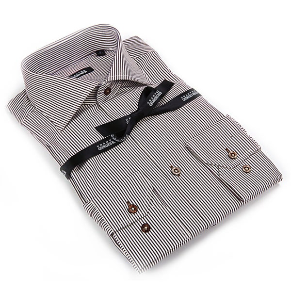 Georges Rech Men's Brown and White Microstripe Button-down Shirt