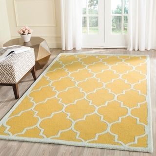 Safavieh Handmade Cambridge Gold/ Ivory Wool Rug (10' x 14')