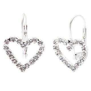 Detti Originals Crystal Silver Tone Heart Earrings