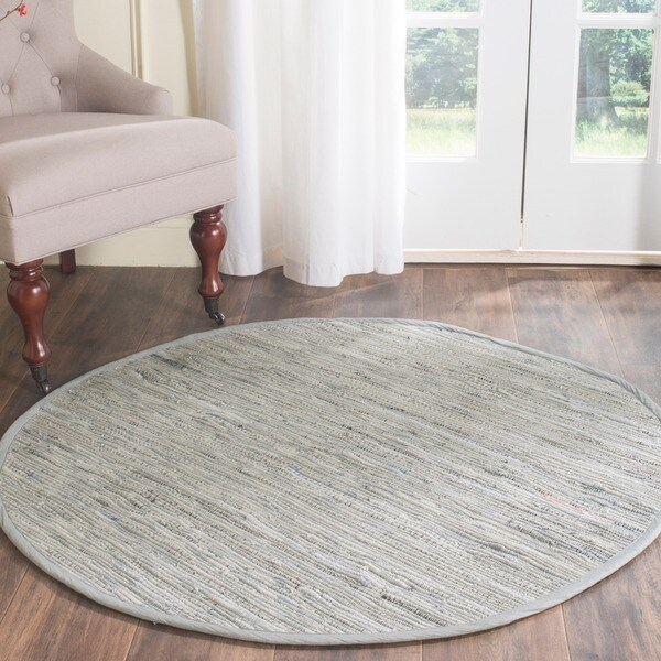 Safavieh Hand-woven Rag Rug Grey/ Multi Cotton Rug (4' Round)