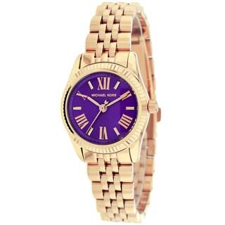 Michael Kors Women's MK3273 Lexington Mini Purple Dial Stainless Steel Watch