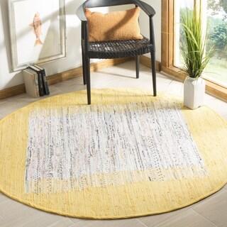 Safavieh Hand-woven Montauk Ivory/ Yellow Cotton Rug (4' Round)