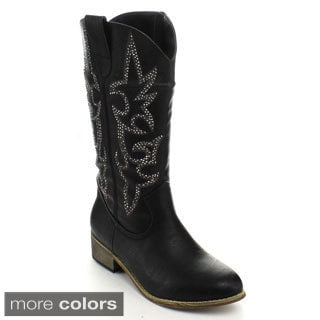 Fashion Focus Women's Western Style Mid-calf Boots
