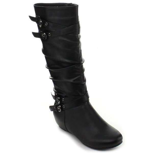 Fashion Focus Women's 'Nacy-88' Hidden Wedge Slouchy Knee-high Boots