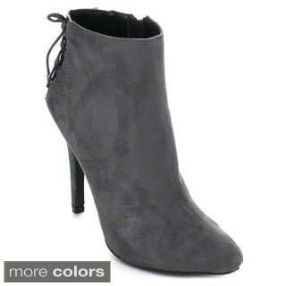 Delicious Women's 'Natka' Charcoal Back Lace-up Ankle Booties