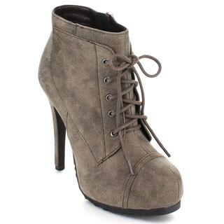 Paprika Women's 'Wenn' Taupe High Platform Ankle Booties