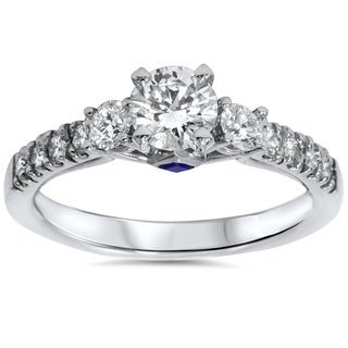 Bliss 14k White Gold 1ct TDW Diamond Sapphire Accent Engagement Ring (G-H, I1-I2)