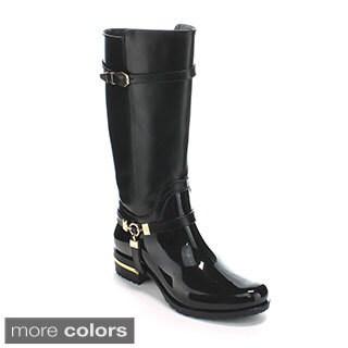 Forever Women's 'Clara-25' Two-tone Knee-high Rain Boots