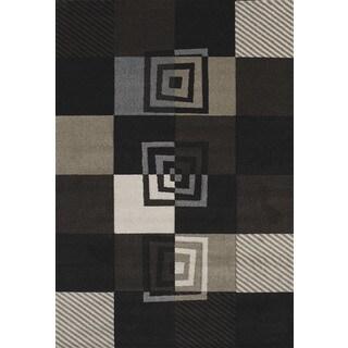 Hand-carved Townshend Hilary Black Area Rug (7'10 x 11'2)