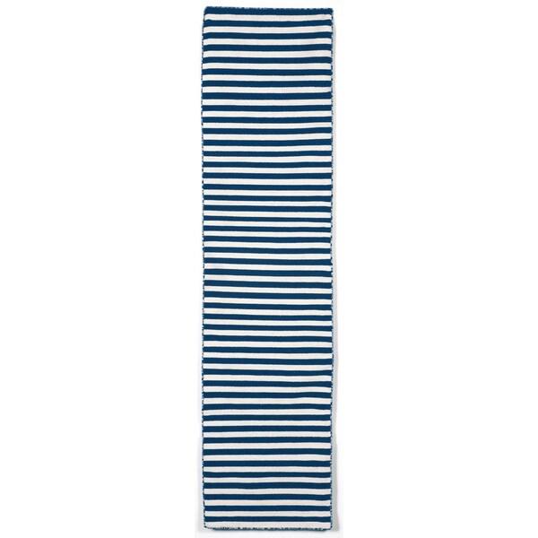 Petite Stripe Navy Outdoor Rug (2'X8')
