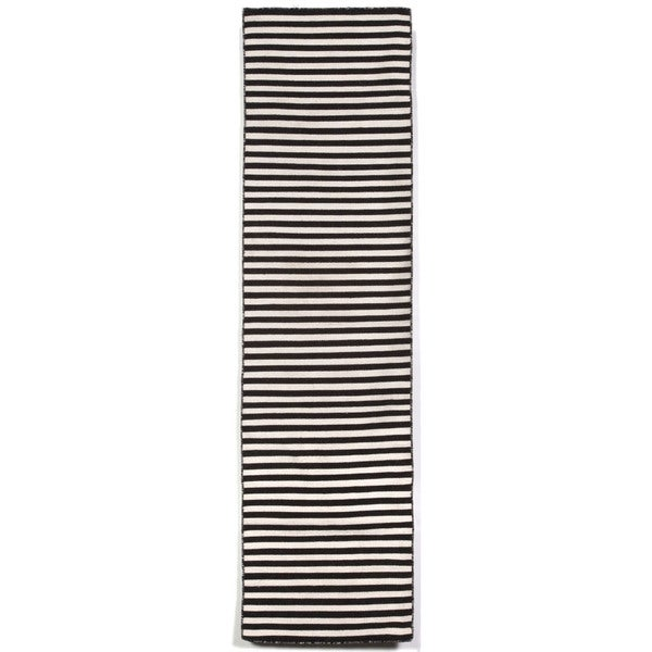 Petite Stripe Black Outdoor Rug (2'X8')