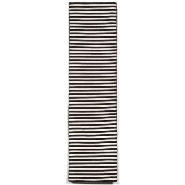 Petite Stripe Black Outdoor Rug (2'X8')