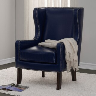 Navy Bonded Leather Nailhead Oversized Wing Chair