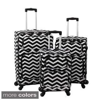 World Traveler Chevron 3-Piece Expandable Lightweight Spinner Upright Luggage Set