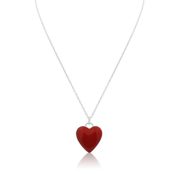 Gioelli Sterling Silver Red Enamel Heart Pendant Chain Necklace