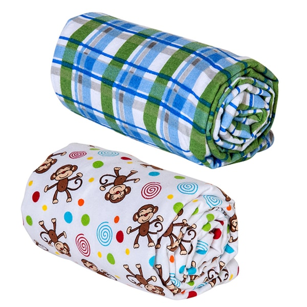 Trend Lab Swaddle Blankets Blue Plaid Monkey Print Flannel (Pack of 2)