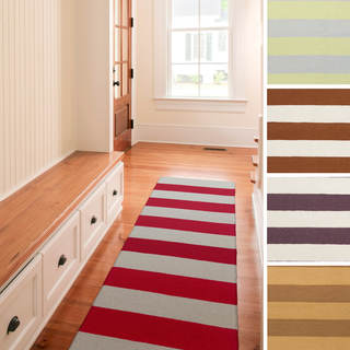 Hand-woven Clearwater Flatweave Striped Wool Runner (2'6 x 8')