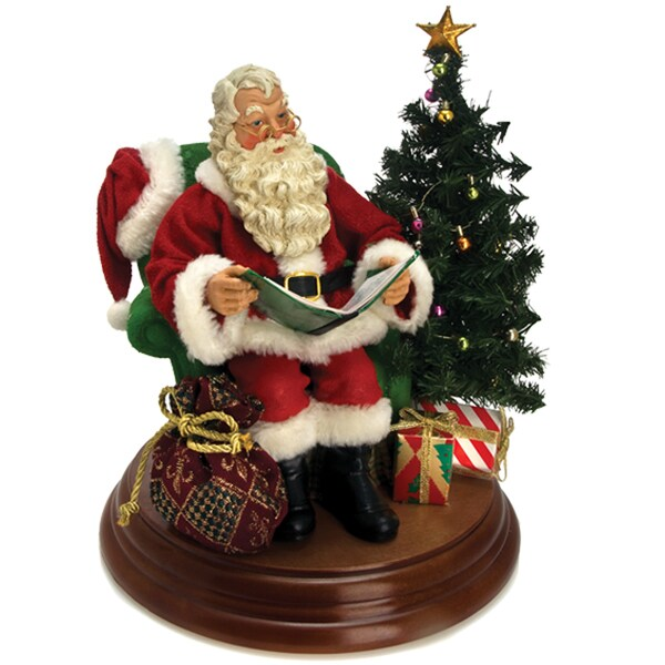 Kurt Adler 8-inch Fabriche Battery-operated Story-telling Santa with Sound