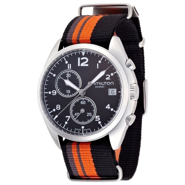 Hamilton Men's H76552933 Pilot Pioneer Black Chronograph Watch