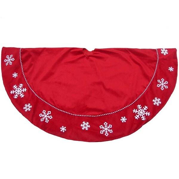 Kurt Adler 56-inch Red Snowflake Treeskirt