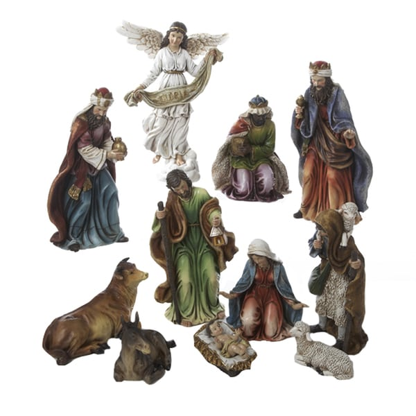 Kurt Adler 9-inch 11-piece Resin Nativity Figures