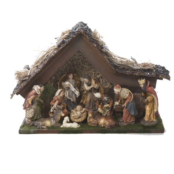 Kurt Adler 9.5-inch Musical LED Nativity Set with Figures and Stable