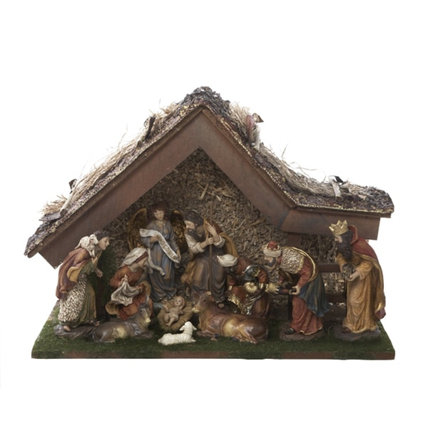 Kurt adler 12 inch nativity set with stable and 10 figures 16691168