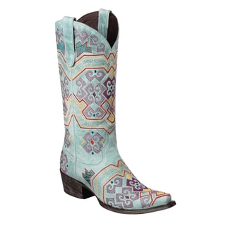 Lane Boots Women's 'Yaretzi' Turquoise/ Muticolored Leather Cowboy Boots