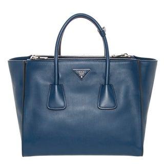 Prada 'City' Large Blue Calf Leather Twin-pocket Tote