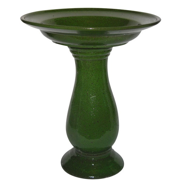 Moss Green Ceramic Bird Bath