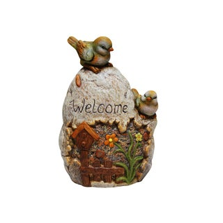 Welcome Sign Rock with Bird Garden Statue