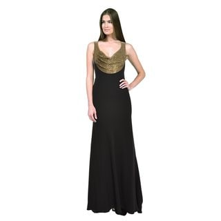 Carmen Marc Valvo Women's Black and Gold Beaded Gown
