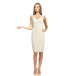 Badgley Mischka Women's Ivory Beaded Evening Dress