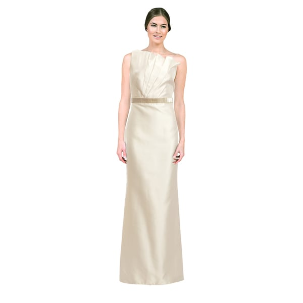 Carmen Marc Valvo Women's Ivory One-shoulder Gown