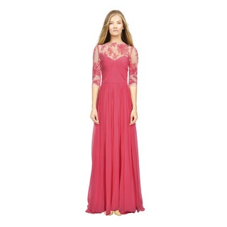 Monique Lhuillier Women's Magenta Illusion Embroidered Formal Gown
