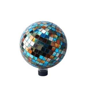 10-inch Blue/Amber Mosaic Gazing Ball