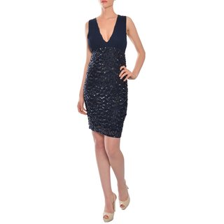 Alice + Olivia Women's Navy Silk Sleeveless Fitted Dress
