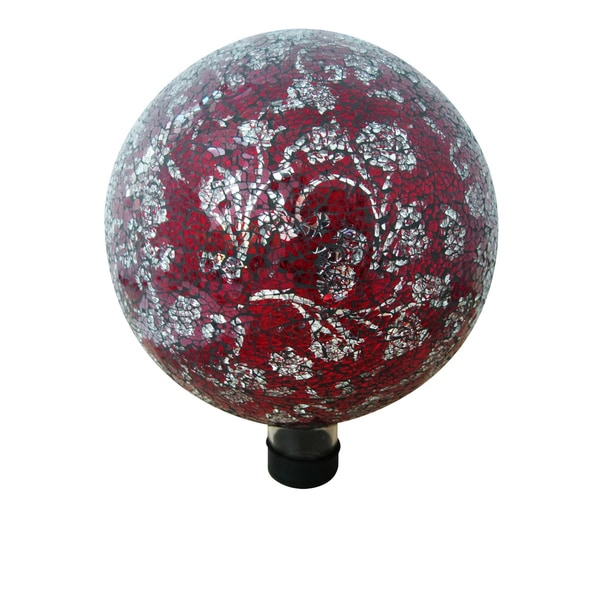 10-inch Red Mosaic Glass Gazing Globe with Flower Pattern