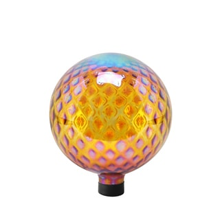 10-inch Amber with Diamond Pattern Glass Gazing Globe