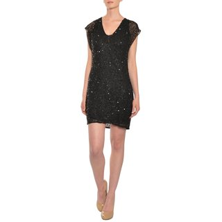 Aidan Mattox Women's Black Fully Beaded Rhinestone Dress