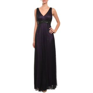Carmen Marc Valvo Women's Amethyst Pleated Tulle Evening Gown