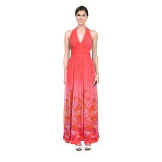 Aidan Mattox Women's Watermelon Pink Floral Print Halter Dress